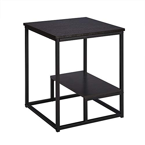 FIVEGIVEN 2-Tier Square Side End Table for Living Room Night Stand for Bedroom Brownish Black -