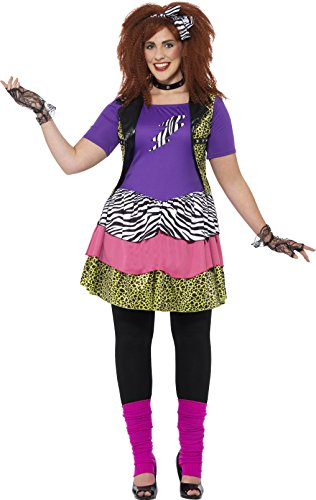 Smiffy's 44658x1 Women's Curves 80s Rock Chick Costume (Rock Chicks Costume)