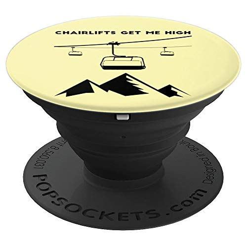 Chairlifts Get Me High | Ski Lift Elevator Art - PopSockets Grip and Stand for Phones and Tablets (Wireless Elevator Phone)