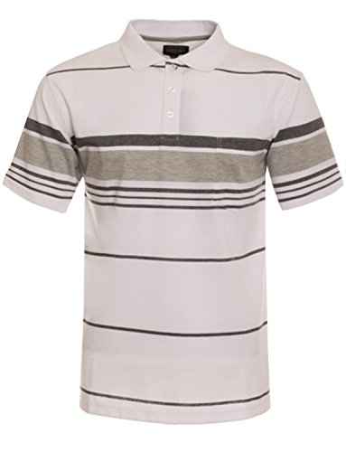 NE PEOPLE Men's Everyday Basic Stripe Polo - Anniversary Fitted T-shirt