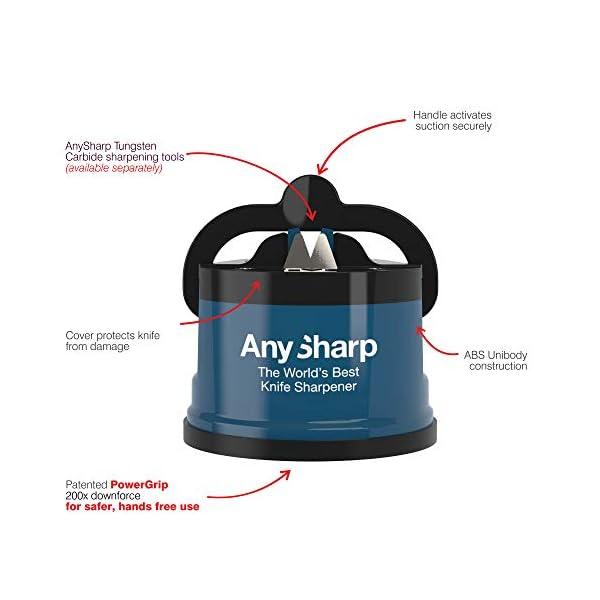 Anysharp Affilacoltelli Con Ventosa, Blu 5
