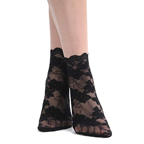 - Women's Thin Floral Lace Ankle Socks Cotton Bottom Stylish (4 Pairs- Black)