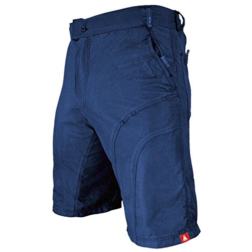 The Pub Crawler - Mens Loose-Fit Bike Shorts for Commuter Cycling or Mountain Biking, with Secure Pockets (X-Large, Blue - Without Padded Undershorts)