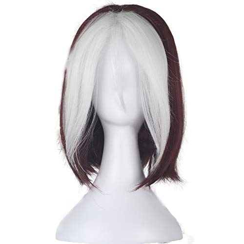 WKS Rogue WIg Short Wavy Wine Red Brown with White Strands Cosplay Costume for Women ()