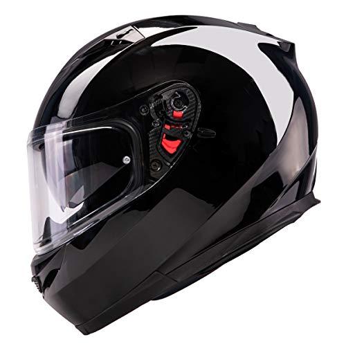 Series Helmet Shield - Orthrus Orion Series Full-Face Street Bike Cruiser Motorcycle Helmets With Drop-down Inner Sun Shield DOT (M, Gloss Black)