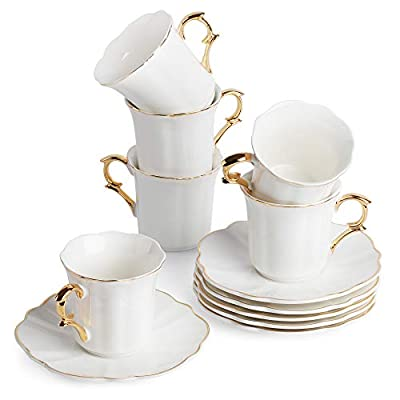 BTäT- Espresso Cups and Saucers, Set of 6 Demitasse Cups (2.4 oz) with Gold Trim and Gift Box, Small Coffee Cups, White Espresso Cup Set, Turkish Coffee Cups, Porcelain Espresso Mugs, Espresso Set
