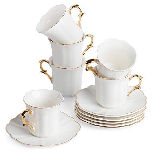 BTäT- Small Espresso Cups and Saucers, Set of 6 Demitasse Cups (2.4 oz) with Gold Trim and Gift Box, Small Coffee Cup, White Espresso Cup Set, Turkish Coffee Cup, Porcelain Espresso Cup, Espresso Set ()