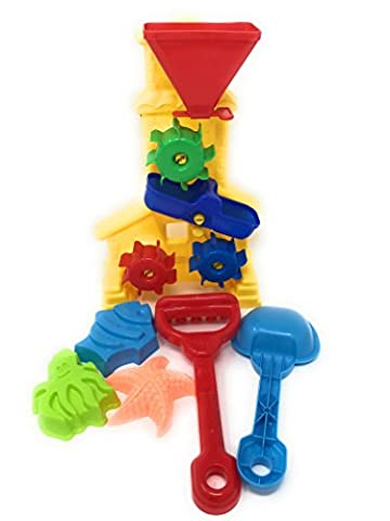 JF Beach Sand Toys Wheel Beach Toy Set for Kids with Shovels, Rakes & 3 Shape Molds - Cars Mega Mack Playset