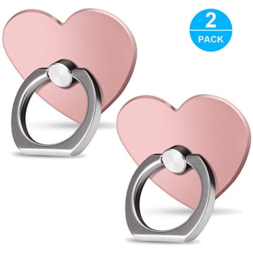 (Cell Phone Ring Holder Finger Kickstand (2 Pack) - ifab 360° Rotation Metal Phone Grip/Stand/Holder - Compatible with Almost All Phones/Cases iPhone Tablet Samsung Galaxy Smartphone - Rose Gold Heart)