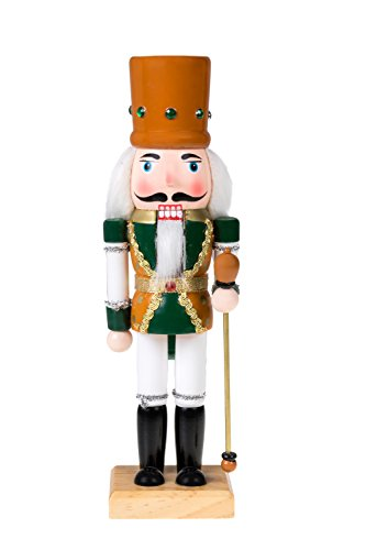 "Clever Creations Traditional Wooden King Nutcracker Festive Christmas Decor | 10"" Tall Perfect for Shelves and Tables 