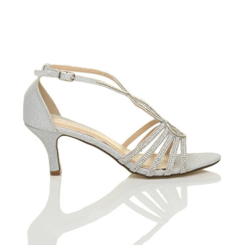 Ajvani Womens Ladies Mid Tacón Tiras en forma de diamante brillante novia boda T-bar sandalias zapatos talla plata