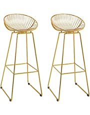HOMCOM Bar stools Set of 2, Modern Tall Bar Chairs for Kitchen with Backrest and Footrest, Steel Frame, Gold