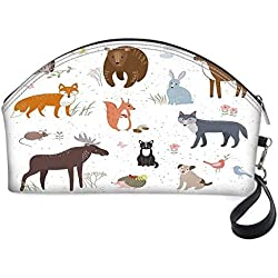 """Cabin Decor Small portable cosmetic bag,Cute Animals in Spring Meadow Childish Woodland Fauna Kids Baby Room Nursery Decorative for Women,10.8""""Lx3.3""""Wx6.6""""H"""