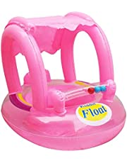 Baby Swimming Pool Float Seat Boat Adjustable Inflatable Sunshade UV Protection Swimming Ring - Pink,2724696612702