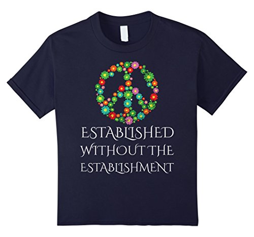 [Kids Peace Sign Hippie Tye Dye anti establishment T-Shirt 12 Navy] (Tye Dye Hippie Costumes)