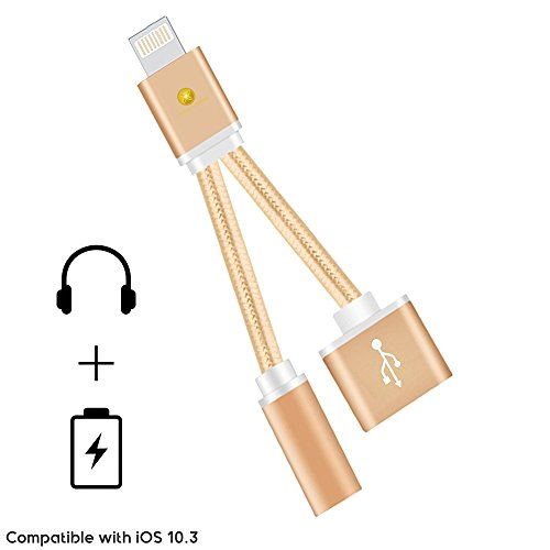 Braided iPhone 7 Plus Dual Lightning Adapter, Prime Lightning to 3.5mm AUX Headphone Jack Adapter Splitter (Lightning Audio + Charge) iOS 10.3 Compatible for iPhone 7, iPhone 7 Plus (Gold)