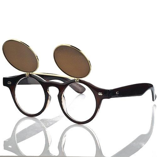 Classic Vintage rund Kreis Renovieren Doppel-Abdeckung Sonnenbrille Klapp-Brillen Eyewear Braun braun Einheitsgröße