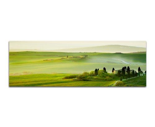 Morgen in der Toskana grüne Landschaften 150x50cm Panoramabilder auf Leinwand und Keilrahmen Wandbild auf Leinwand und Keilrahmen fertig zum aufhängen - Unsere Bilder auf Leinwand bestechen durch ihre ungewöhnlichen Formate und den extrem detaillierten Druck aus bis zu 100 Megapixel hoch aufgelösten Fotos.
