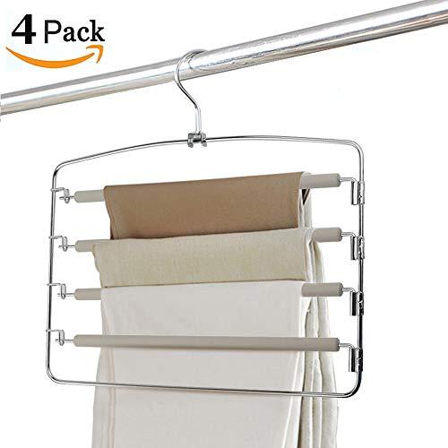 Clothes Pants Hangers 4pack - Multi Layers Metal Pant Slack Hangers,Foam Padded Swing Arm Pants Hangers Closet Storage Organizer for Pants Jeans Scarf Hanging(Grey) -