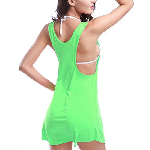 Zhuhaitf Alta calidad Summer Women Casual Sleeveless Loose Beach Dress Cover Ups-One Size Green