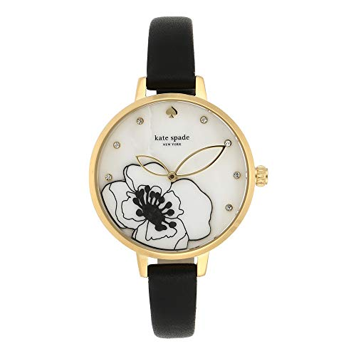 kate spade new york Women's Metro Stainless Steel Quartz Watch with Leather Strap, Black, 10 (Model: KSW1480) (Watch Dial Floral)