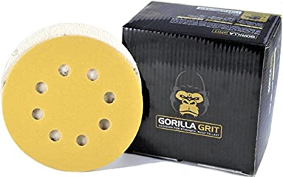 Gorilla Grit Sanding Discs 5 Inch 8 Hole Hook and Loop Sanding Discs for Orbital Sanders. Great Pads for Wood and Metal Surfaces