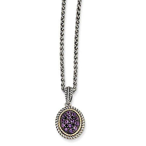 (Mireval Sterling Silver Two-Tone Rim Simulated Amethyst Oval Pendant Necklace, 18