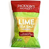 Jackson's Honest Lime and Sea Salt Tortilla Chips, 5.5 Ounce (Pack of 12)