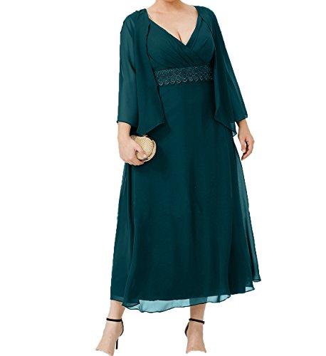 Chiffon Festlichkleider Damen Wadenlang Abendkleider Charmant Formalkleider A mit Blau Gruen Jaket Brautmutterkleider Linie Ballkleider qFUx5