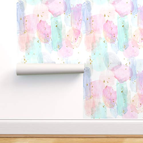 Spoonflower Pre-Pasted Removable Wallpaper, Rainbow Watercolor Star Abstract Stars Pastel Baby Girl Hippie Print, Water-Activated Wallpaper, 24in x 108in Roll