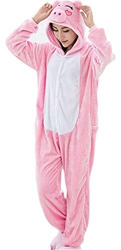 Sleepsuit Costume Cosplay Kigurumi Onesie Pajamas Romper Playsuit Lounge Wear Pink Pig (Pig Club)