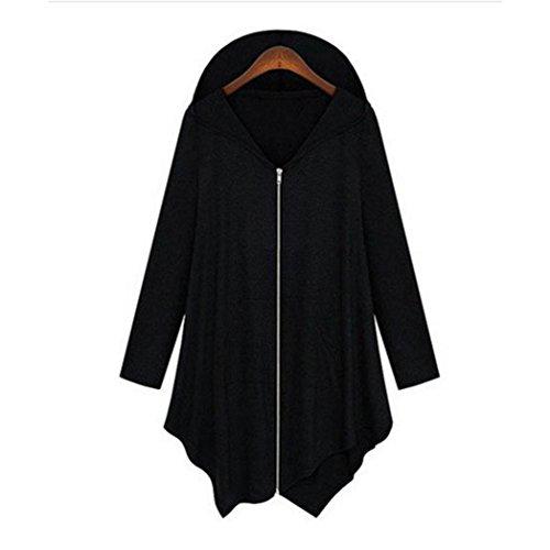 KaloryWee Abrigo de Manga Larga para Mujer con Cremallera Suelta Cremallera de Mujer Outwear - Abrigo para Mujer Negro