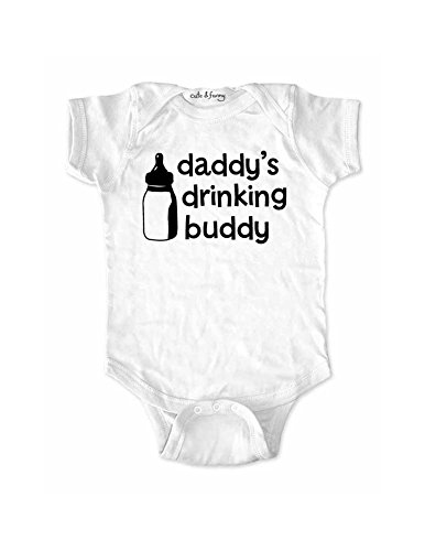 (Daddy's drinking buddy - cute funny Baby Bodysuit (12 Months White))