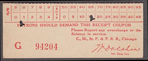 Chicago, Milwaukee, St. Paul and Pacific Railroad railroad ticket receipt ()