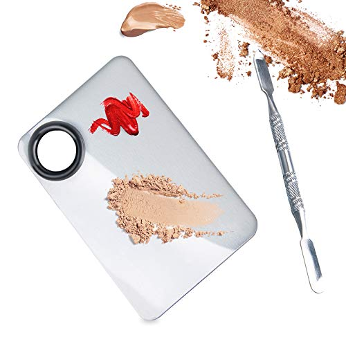 ALIOBC Makeup Palette, Upgrad Stainless Steel Metal Mixing Palette with Spatula Artist Tool for Mixing Foundation Nail…