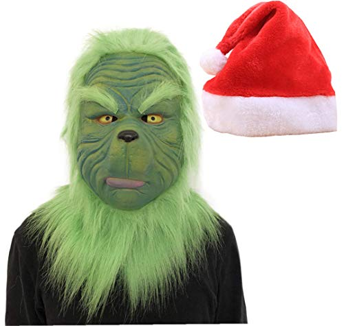 QIKI Grinch Mask, Grinch Costume and Christmas Hat