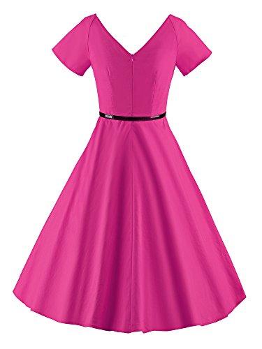Ilover Femmes 1950 V-cou Cru Swing Rockabilly Robe De Soirée Rose-v026