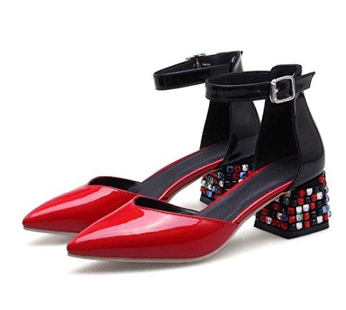 de Libre de de Imitación Boda Verano Primavera Diamantes ZXMXY del Aire Cristal Dedo Talón Sandalias Zapatos de Punta Sandalias Hebilla en al pie Zapatos de Mujeres Las Rojo del de Bloque y Aa1agq