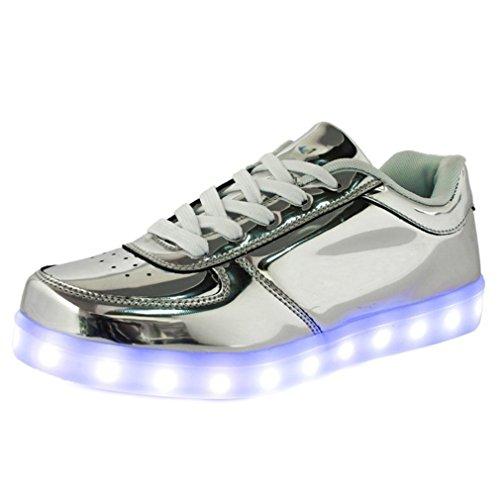 [Presente:pequeña toalla]JUNGLEST® Unisex 7 Colors USB Carga LED Luz Luminosas Flashing Sneakers Altotop Zapatos Zapatillas de Depo c14