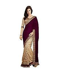 Da Facioun Designer MAROON SILK VELVET Bollywood Replica Saree Sari T1021