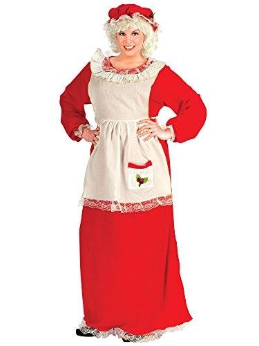 Claus Dress Plus Costumes (Fun World Costumes Women's Plus-Size Plus Size Adult Mrs.Claus Promo Suit, Red/White, X-Large)