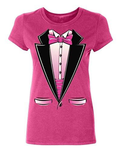 [P&B Pink Bow Tuxedo Women's T-shirt, 2XL, Cyber Pink] (Ladies Tuxedo)