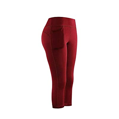 Briskorry High Waist Yoga Pants with Pockets Tummy Control Yoga Capris for Women Stretch Capri Leggings Cropped Tights: Clothing