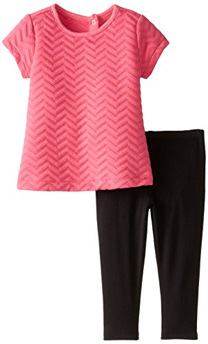 Nicole Miller Baby Girls Quilted Babydoll Tunic Legging Set, Fuchsia Purple, 12 Months (Nicole Spandex Tunic)