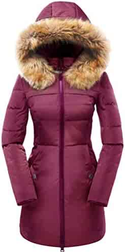 10ba73e12cb valuker Women's Down Coat with Fur Hood with 90% Down Parka Puffer Jacket