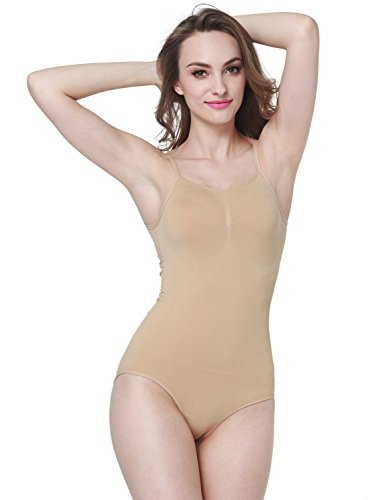 Women's Comfortable Bodysuit Body Shape Control Shapewear Seamless Body Briefer (S, Nude)