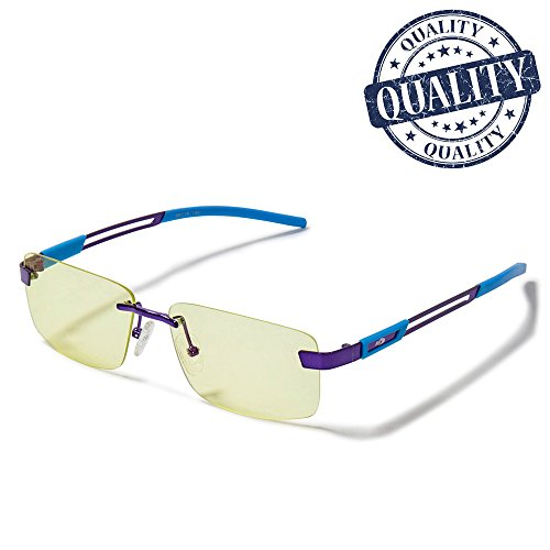 AHT Anti Blue Light Glasses, Anti Fatigue, Anti Radiation, Block UV400, Reduce Eyestrain and Headache, Rimless Frame and Professional Comfortable Computer Glasses, - Ban Sunglasses About Ray