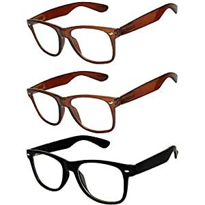 OWL - Non Prescription Glasses for Women and Men - Clear Lens - UV Protection (Brown_Black_3p, Clear)