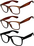 OWL - Non Prescription Glasses for Women and Men - Clear Lens - UV Protection (Brown_Black_3p,...