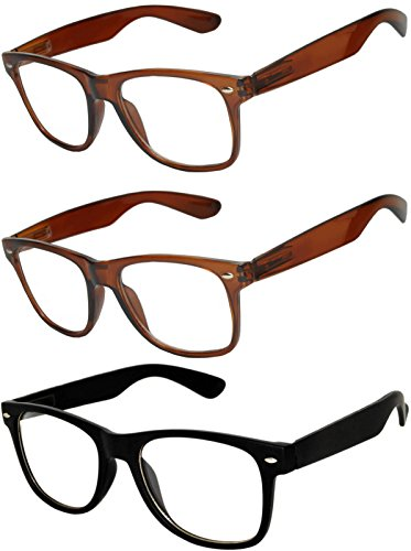Halloween Contacts Prescription (OWL - Non Prescription Glasses for Women and Men - Clear Lens - UV Protection (Brown_Black_3p, Clear))